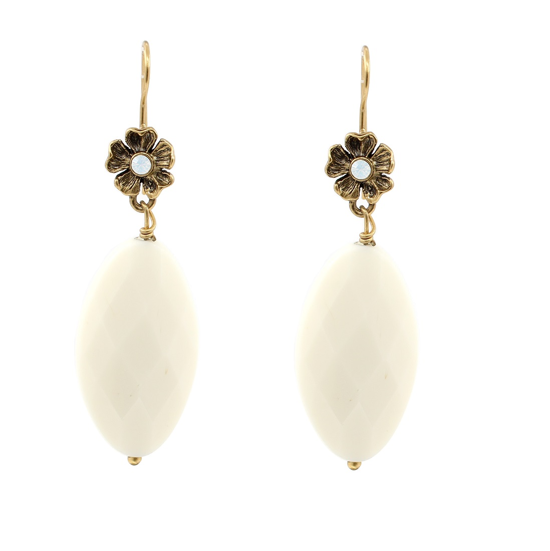 PILGRIM - Autumn's Finest - Crystal Flower Drop Earrings - Gold/White BNWT