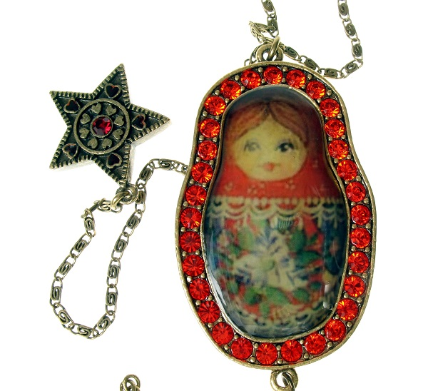 Large Russian Doll Pendant Long Necklace By PILGRIM - Gold/Red