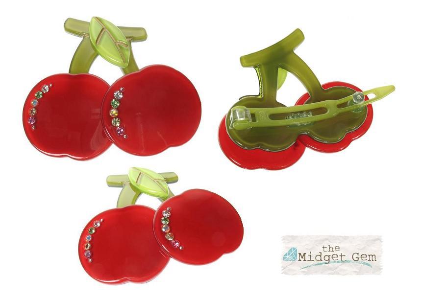 BIG BABY Pair of Cherries/Cherry Hair Slide/Clip