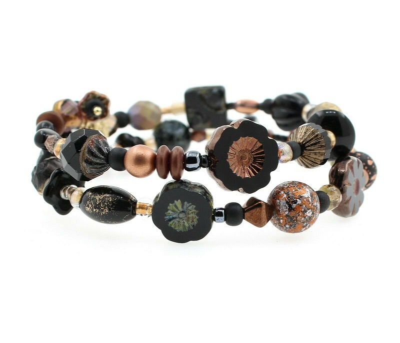 Shades of  Black & Bronze Bead Mix Double Loop Wrap Bracelet