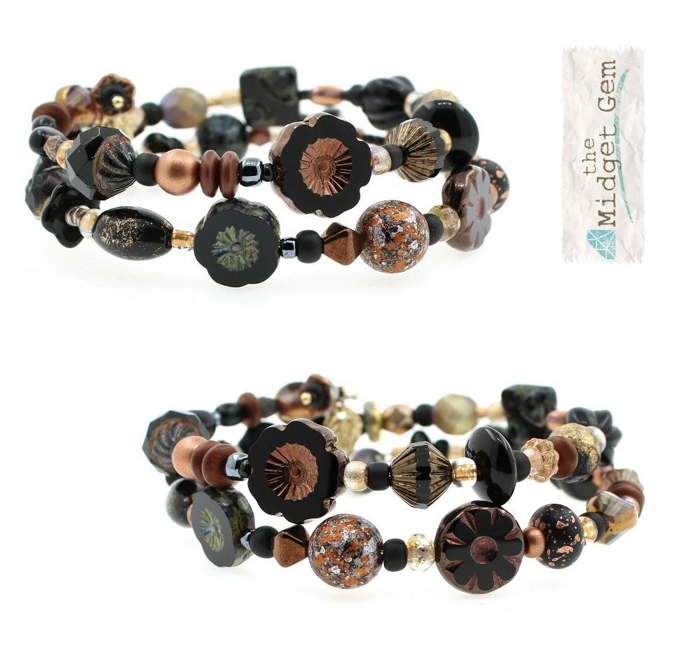 Shades of  Black & Bronze Bead Mix Double Loop Wrap Bracelet