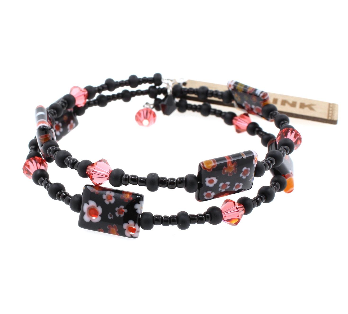 Padparadscha Swarovski & Black Themed Palette - 2 Loop Wrap Bracelet