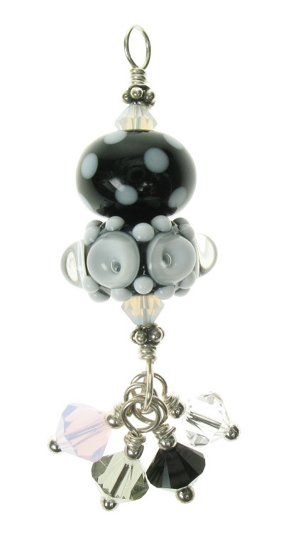 Glass Bead Duo Pendant - Black/White/Clear