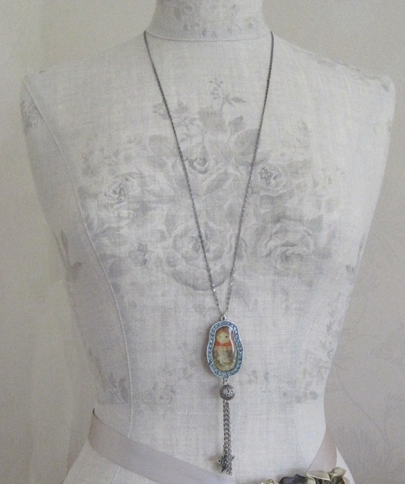 Large Russian Doll Pendant Long Necklace By PILGRIM - Silver/Blue