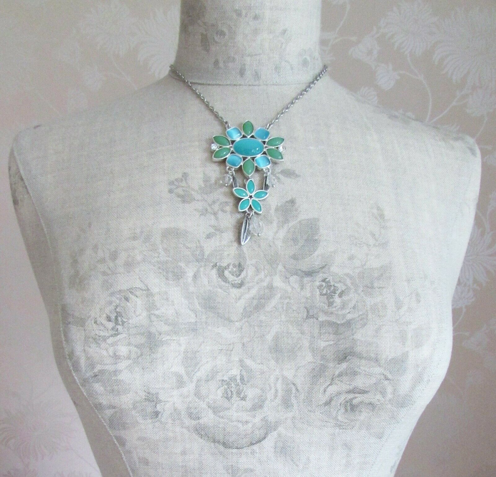 BOHM - Glass Petals Flower Pendant Necklace - Oxidised Silver/Aqua Blue BNWT
