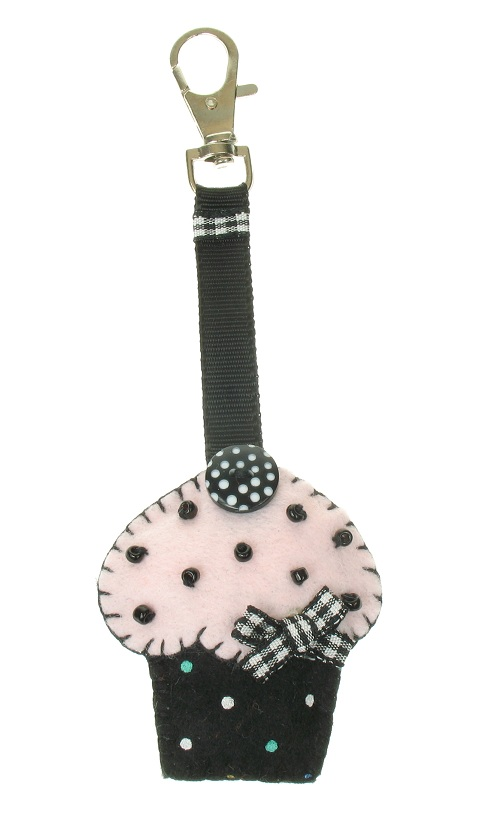 BOBBLELICIOUS Cup-Cake Hand Bag Charm - Black/Pale Pink