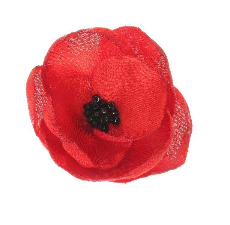 BOBBLELICIOUS Poppy Flower Hair Clip - Red/Black