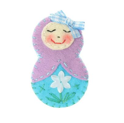 BOBBLELICIOUS Russian Doll Brooch - Lilac/Aqua Blue