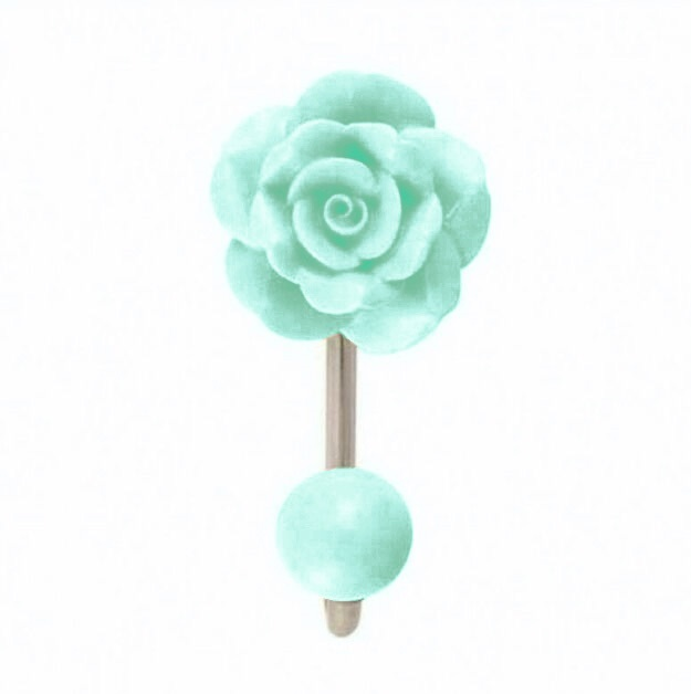 Bombay Duck - Ceramic Vintage Rose Wall Hook - Turquoise Wash BNWT