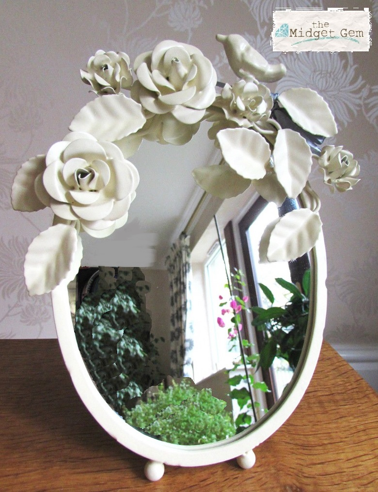 Bombay Duck - Vintage Style Mirror With Legs -  Cream Paint Finish  BNWT