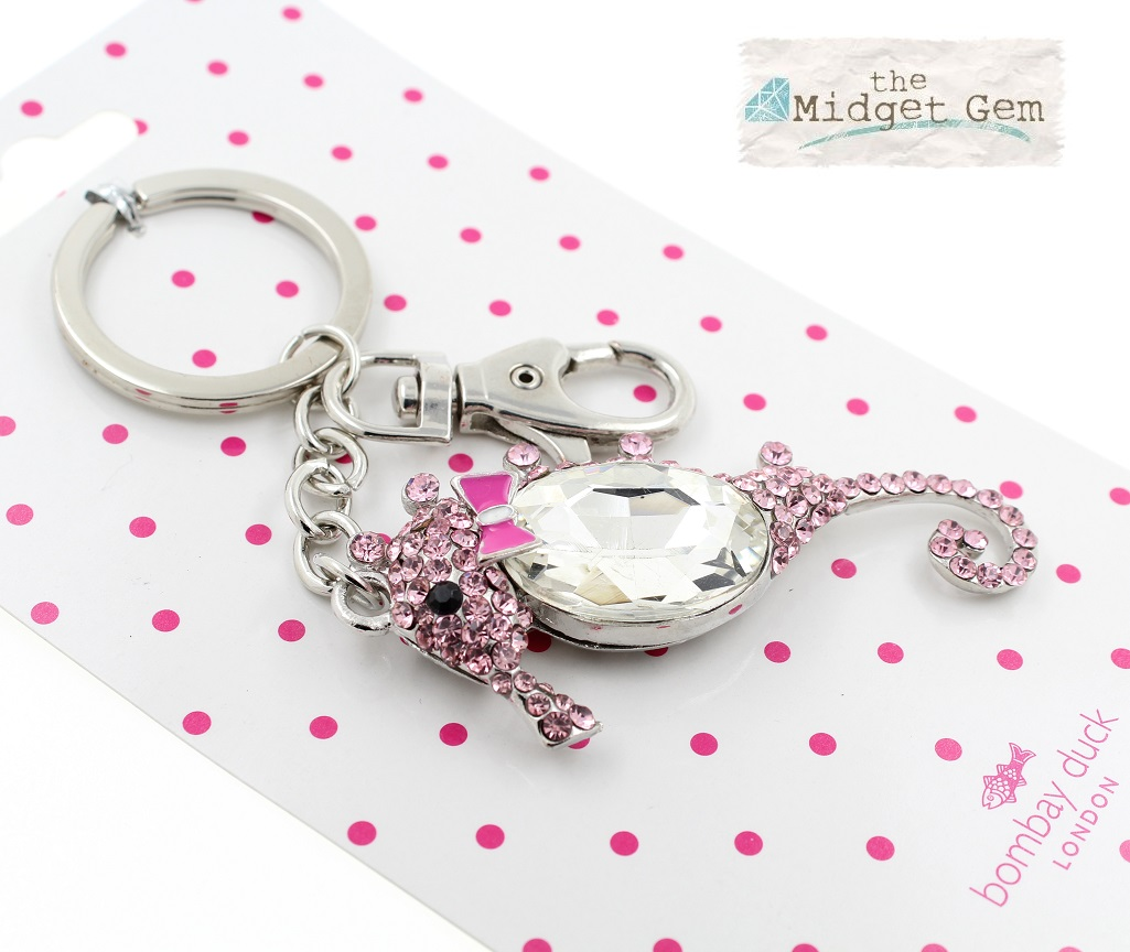 Bombay Duck - Cute Seahorse Key Ring - Pink/Clear Crystals BNWT