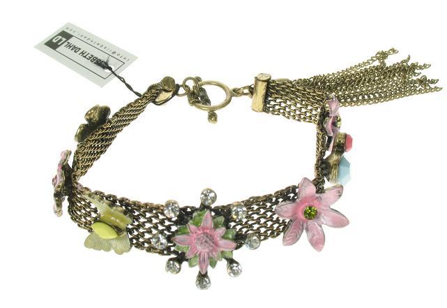 Lisbeth Dahl Kitsch Flower & Butterfly Motif Bracelet - Vintage Gold/Pastels