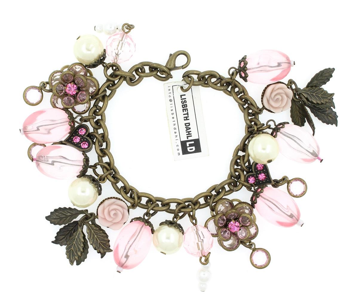 Lisbeth Dahl - Flower & Heart Charm Bracelet - Vintage Gold/Pinks