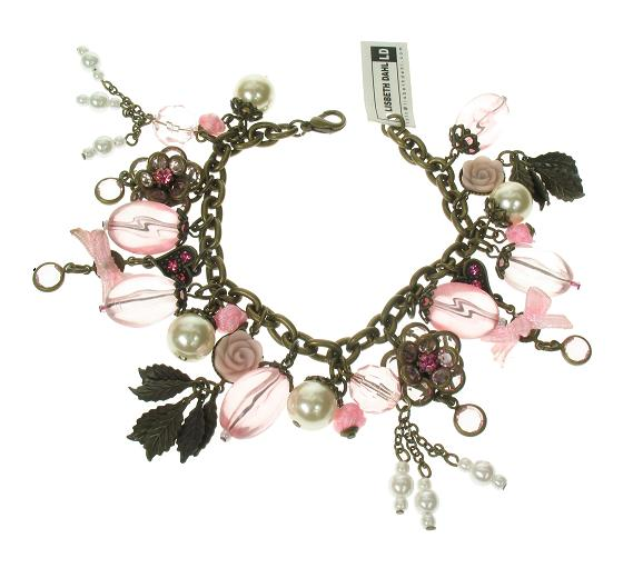 Lisbeth Dahl Flower & Bow Charm Bracelet - Vintage Gold/Pinks