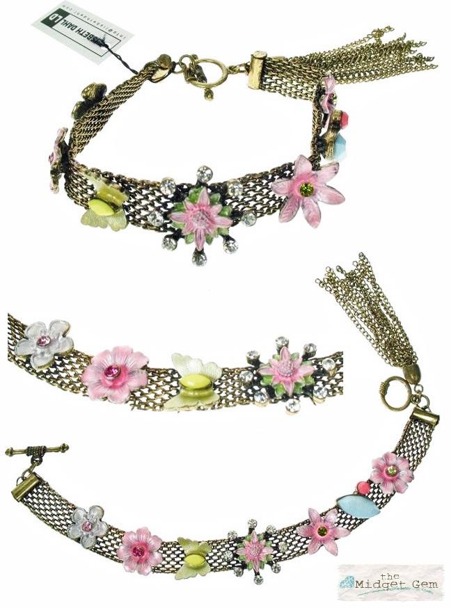 Lisbeth Dahl - Kitsch Flower & Butterfly Motif Bracelet - Vintage Gold/Pastels BNWT