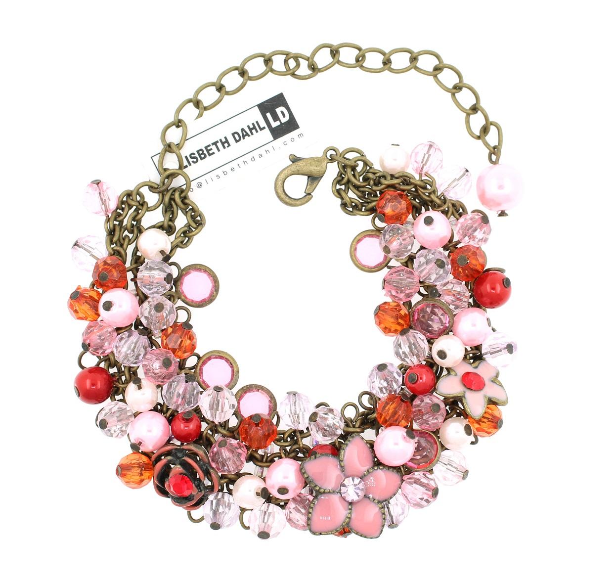 Lisbeth Dahl Flower Charms & Pearl Bracelet - Vintage Gold/Pinks/Reds