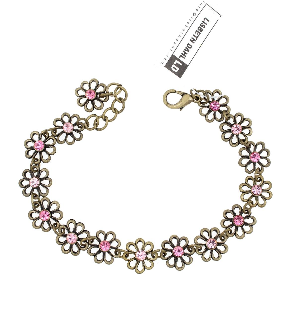Lisbeth Dahl - Daisy Chain Bracelet - Vintage Gold/Pink Crystals BNWT