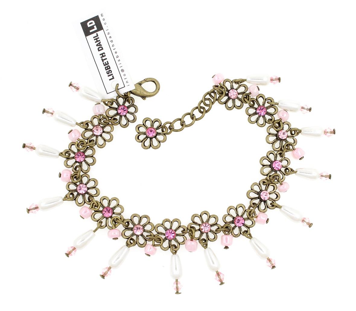 Lisbeth Dahl - Daisy Chain Bracelet - Vintage Gold/Pink Crystals & Pearl Drops