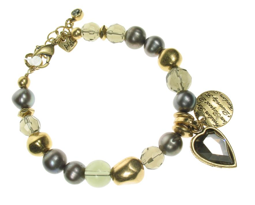 Gold Faceted Crystal Heart Bracelet By A & C