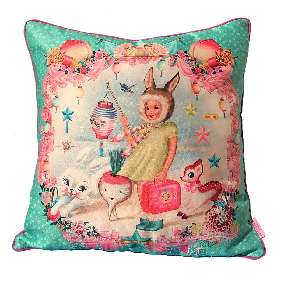 Chinese Lantern Girl Cushion Cover With Piped Trim - Fiona Hewitt