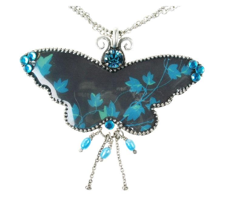 PILGRIM Butterflies Pendant Necklace - Dark Blue/Turquoise/Silver