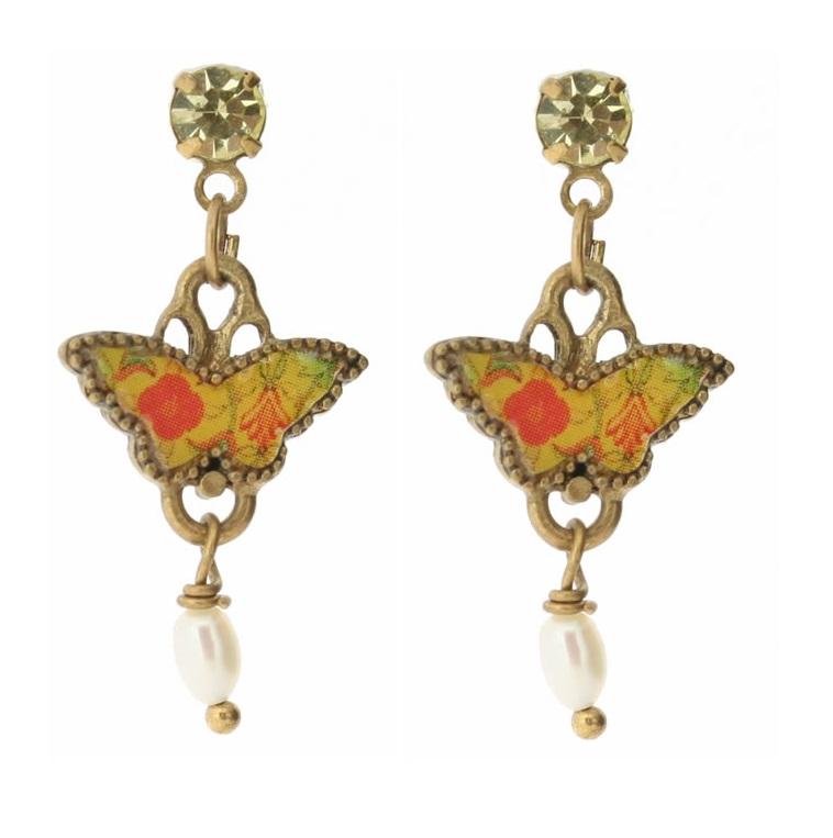 PILGRIM Butterflies Charm Earrings - Yellow/Orange/Gold BNWT
