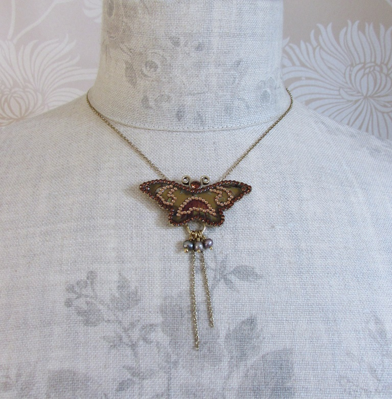 PILGRIM - Favourites - Single Butterfly Necklace - Gold/Topaz Brown BNWT