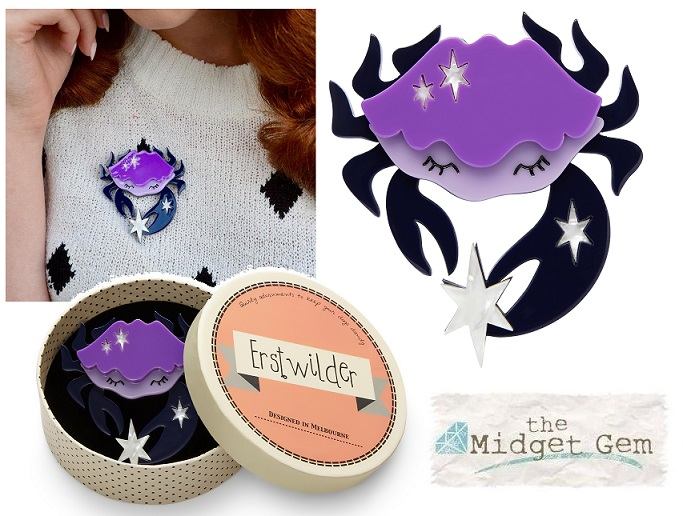 Cancer The Compassionate - The Brave Crab - Erstwilder Horoscope Brooch