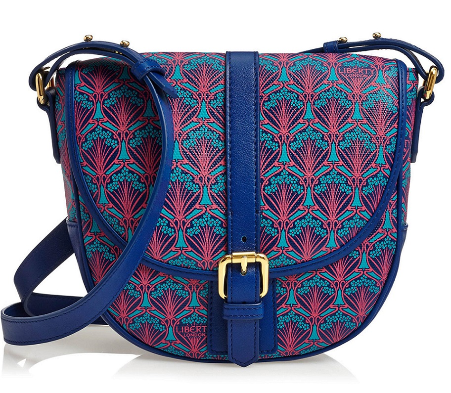 LIBERTY of London - Carnaby Saddle Handbag Crossbody Bag - Iphis Canvas Leather Blue Pink BNWT