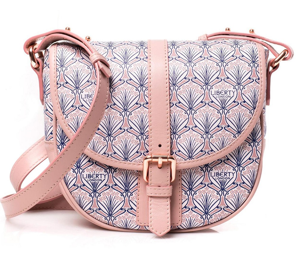 Liberty of London - Carnaby Saddle Crossbody Handbag - Iphis Canvas Leather Pale Pink BNWT