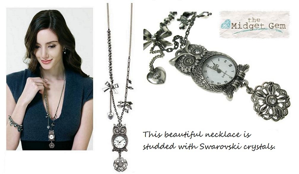 Charm Du Jour Long Owl Necklace- Hematite Plate