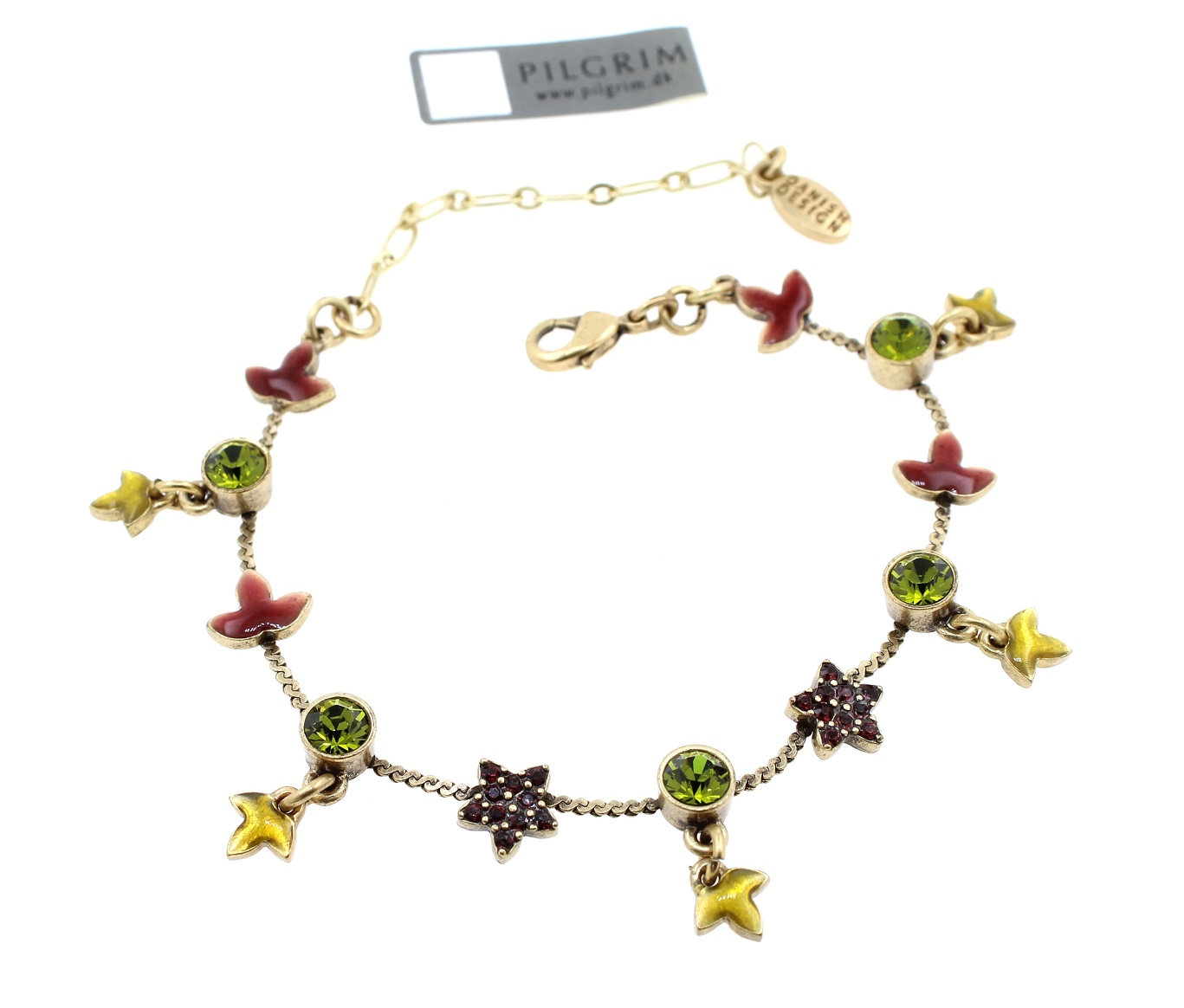 PILGRIM - Circle Line - Simple Star & Leaf Bracelet - Gold/Burgundy/Green BNWT