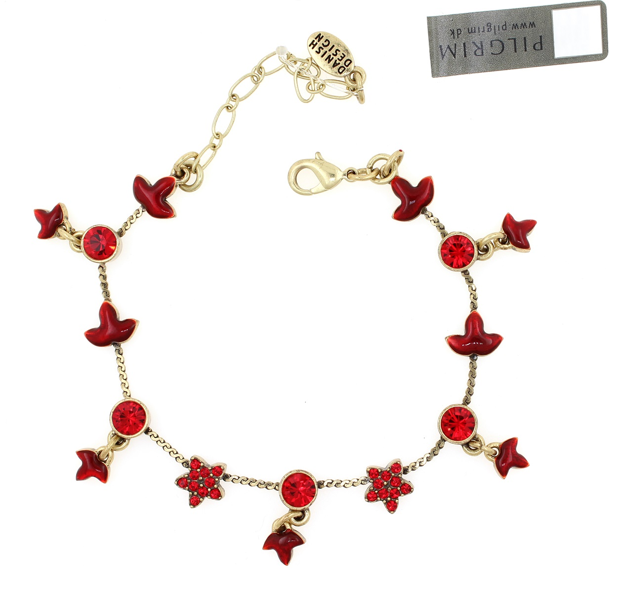 PILGRIM - Circle Line - Simple Star & Leaf Bracelet - Gold/Red BNWT