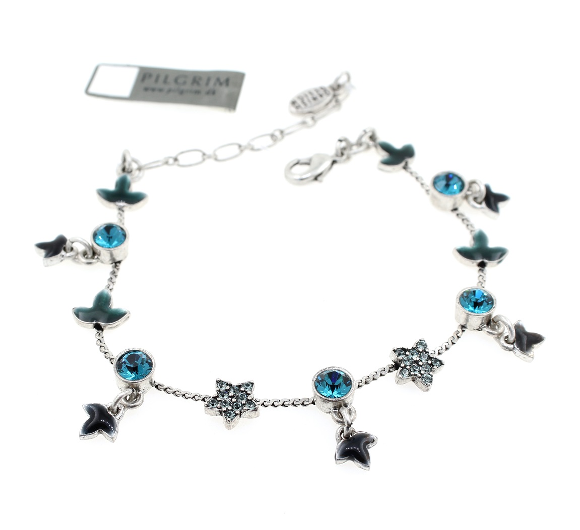 PILGRIM - Circle Line - Simple Star & Leaf Bracelet - Silver/Blue BNWT