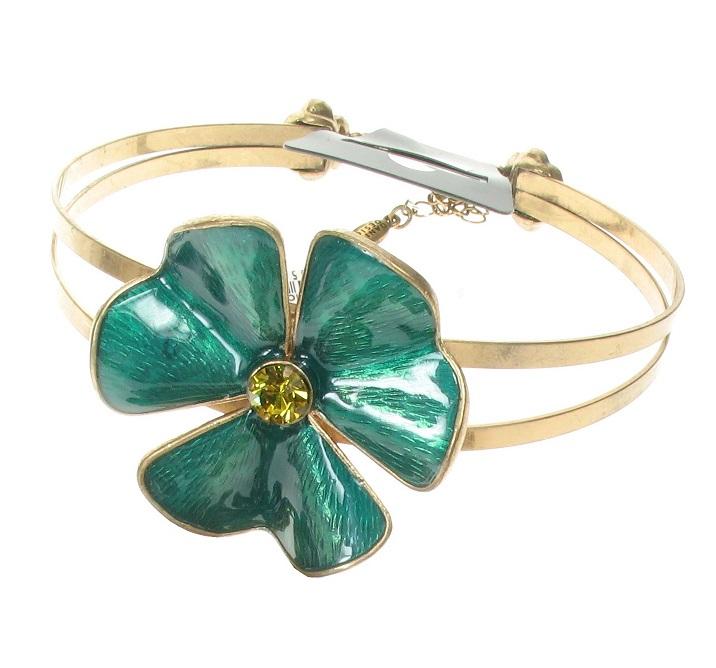 PILGRIM - Clover Flower Choker - Gold/Turquoise BNWT