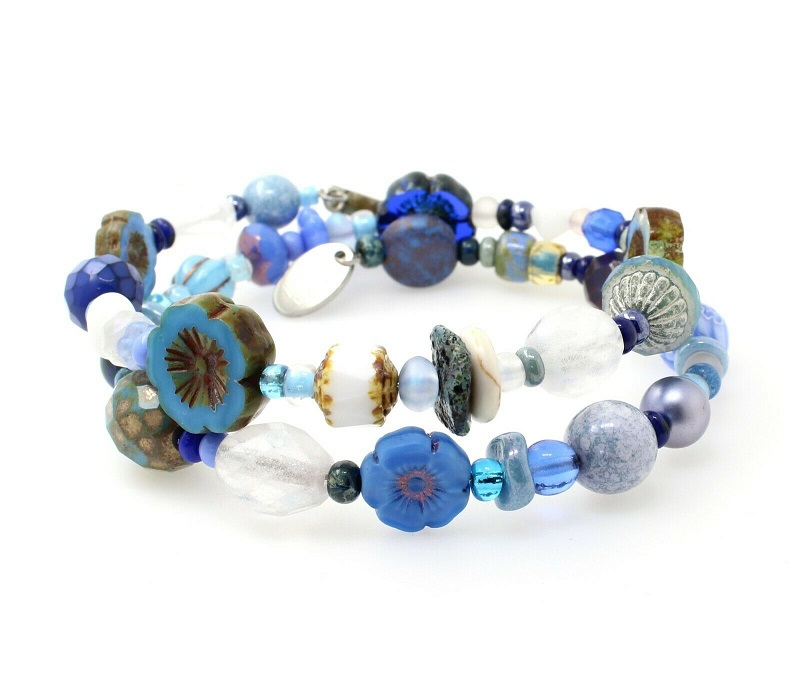 Cornish Blue & White Mix Glass Bead Double Loop Wrap Bracelet