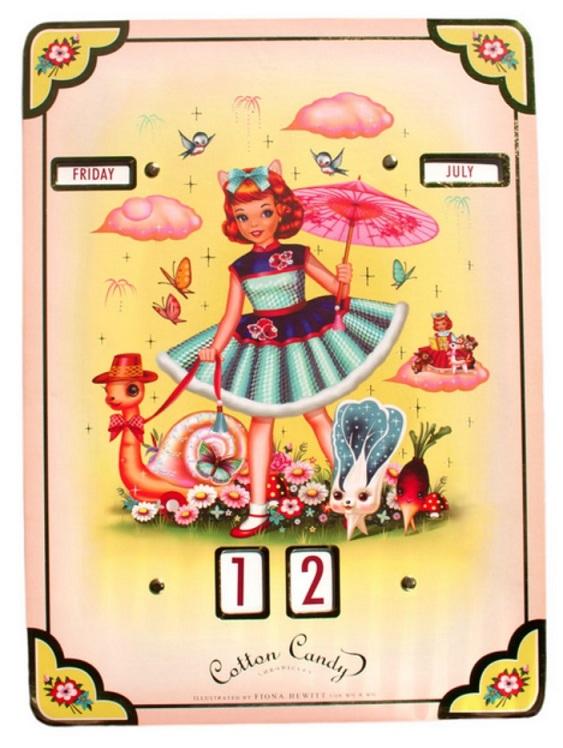 'Cotton Candy' Girl & Friends Perpetual Calendar - Fiona Hewitt