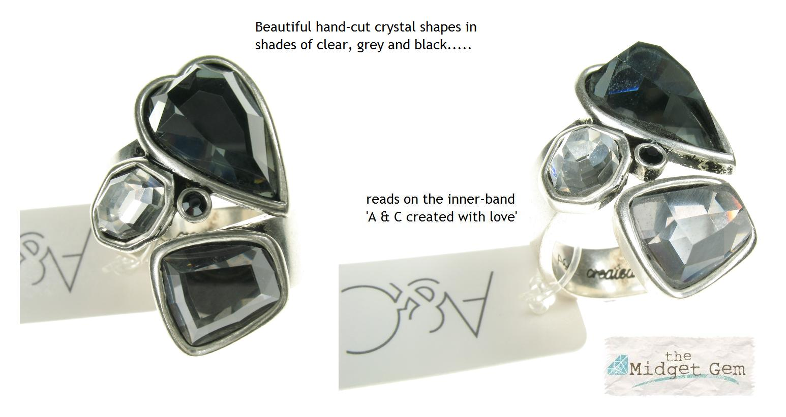 Silver Faceted Clear & Grey Crystal Heart  Ring By A & C