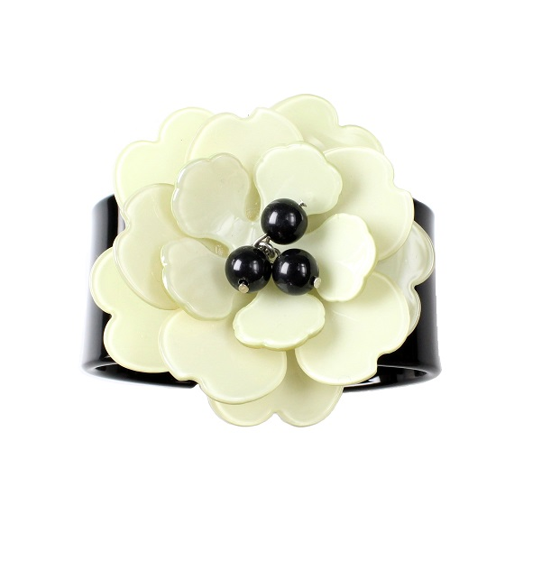 Peony Black Cuff & Green Flower - BIG BABY Bangle