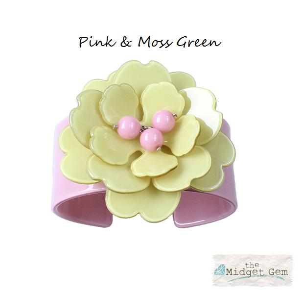 Peony Pink Cuff & Moss Green Flower - BIG BABY Bangle