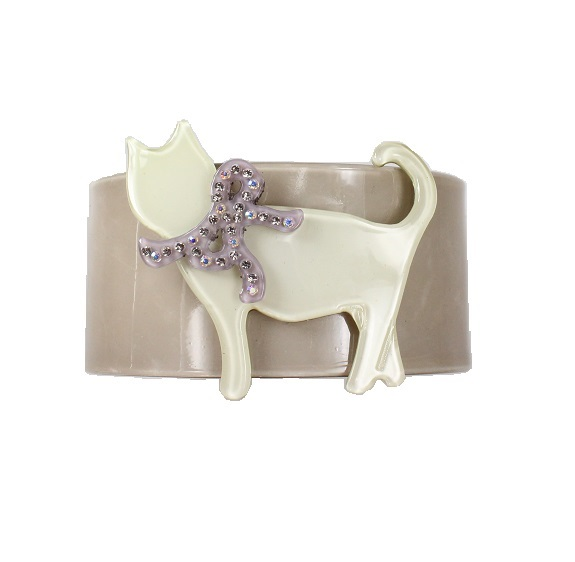 Sophisticated Grey & Pale Green Cat Cuff - BIG BABY Bangle