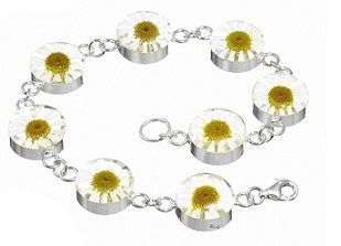 Daisy Flower Round Links Bracelet - Sterling 925 Silver