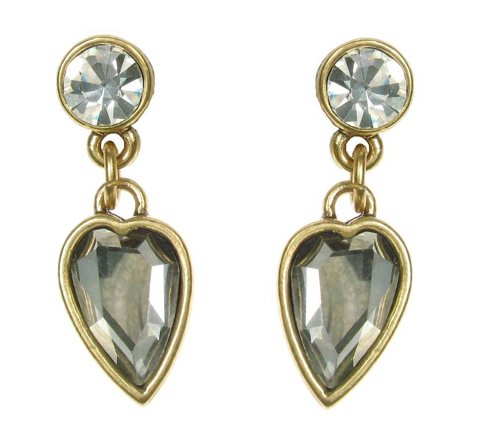 Gold Faceted Crystal Heart  Earrings By A & C
