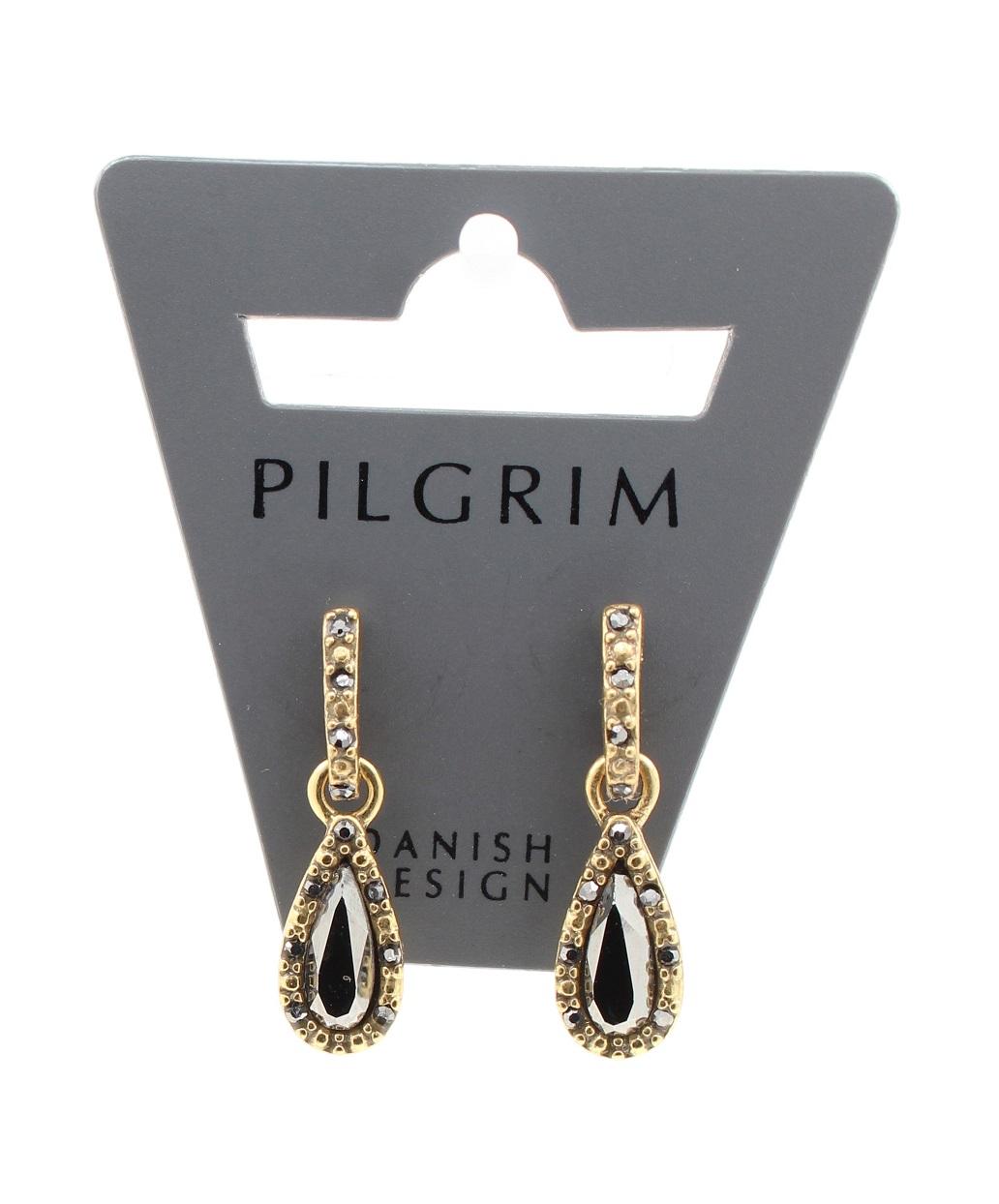PILGRIM - Delicate Night - Crystal Earrings - Gold Plate/Haematite BNWT