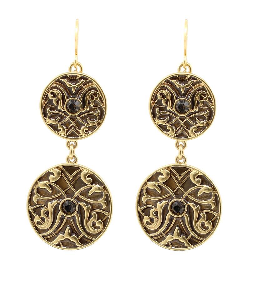 PILGRIM - Grandeur - Double Drop Earrings - Satin Gold Plate/Brown  BNWT