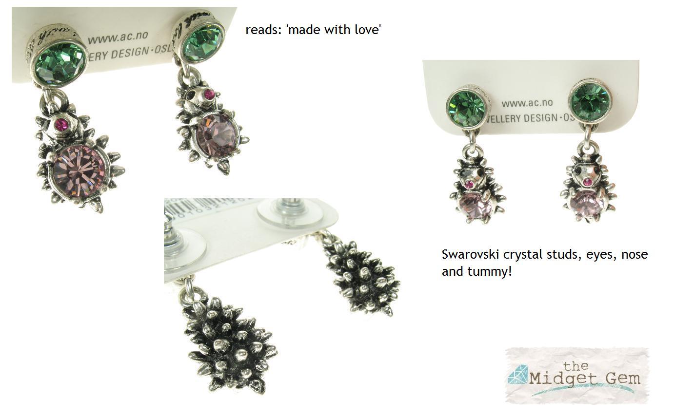 d9df9f7d6 A & C Hedgehog & Swarovski Crystal Earrings