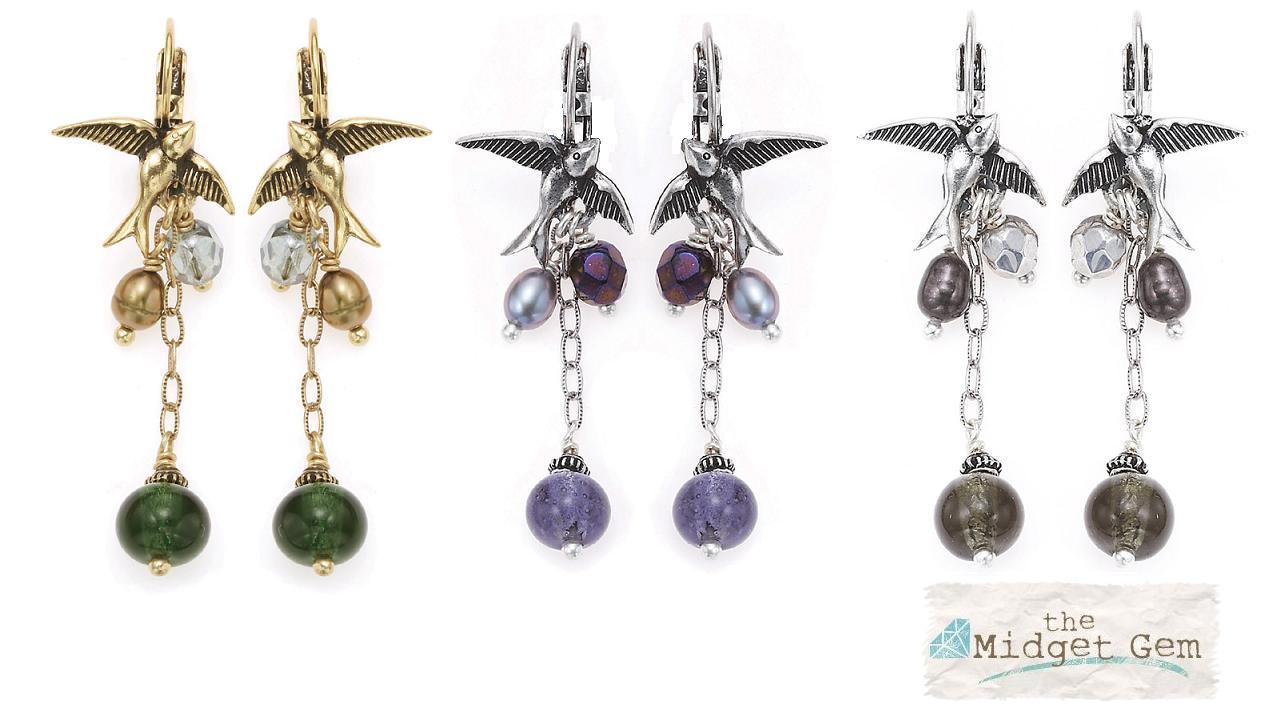 Bohm Bohemian Heart Bird Charm Earrings