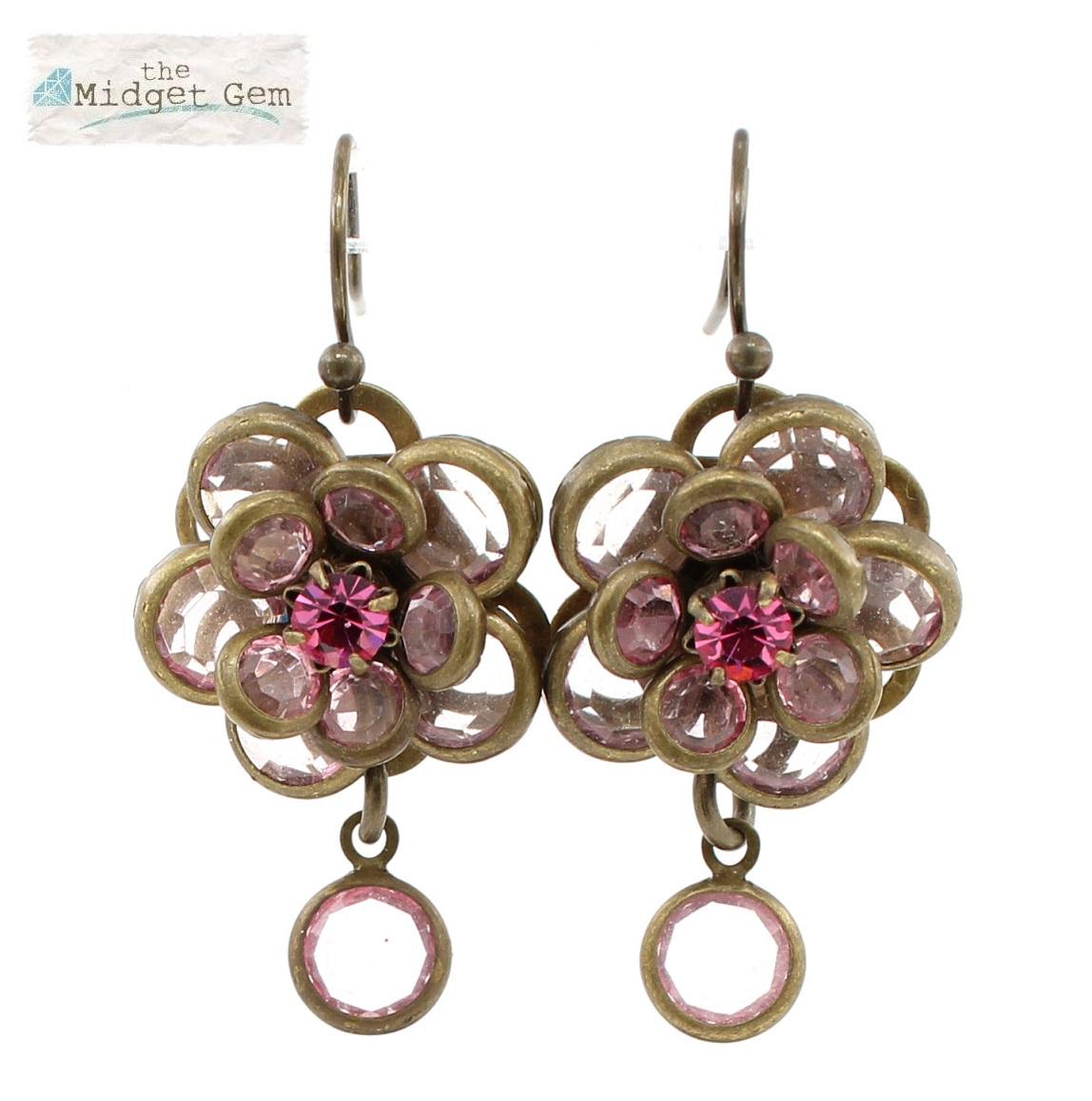 Lisbeth Dahl - Faceted Discs Flower Earrings - Vintage Gold/Pink BNWT
