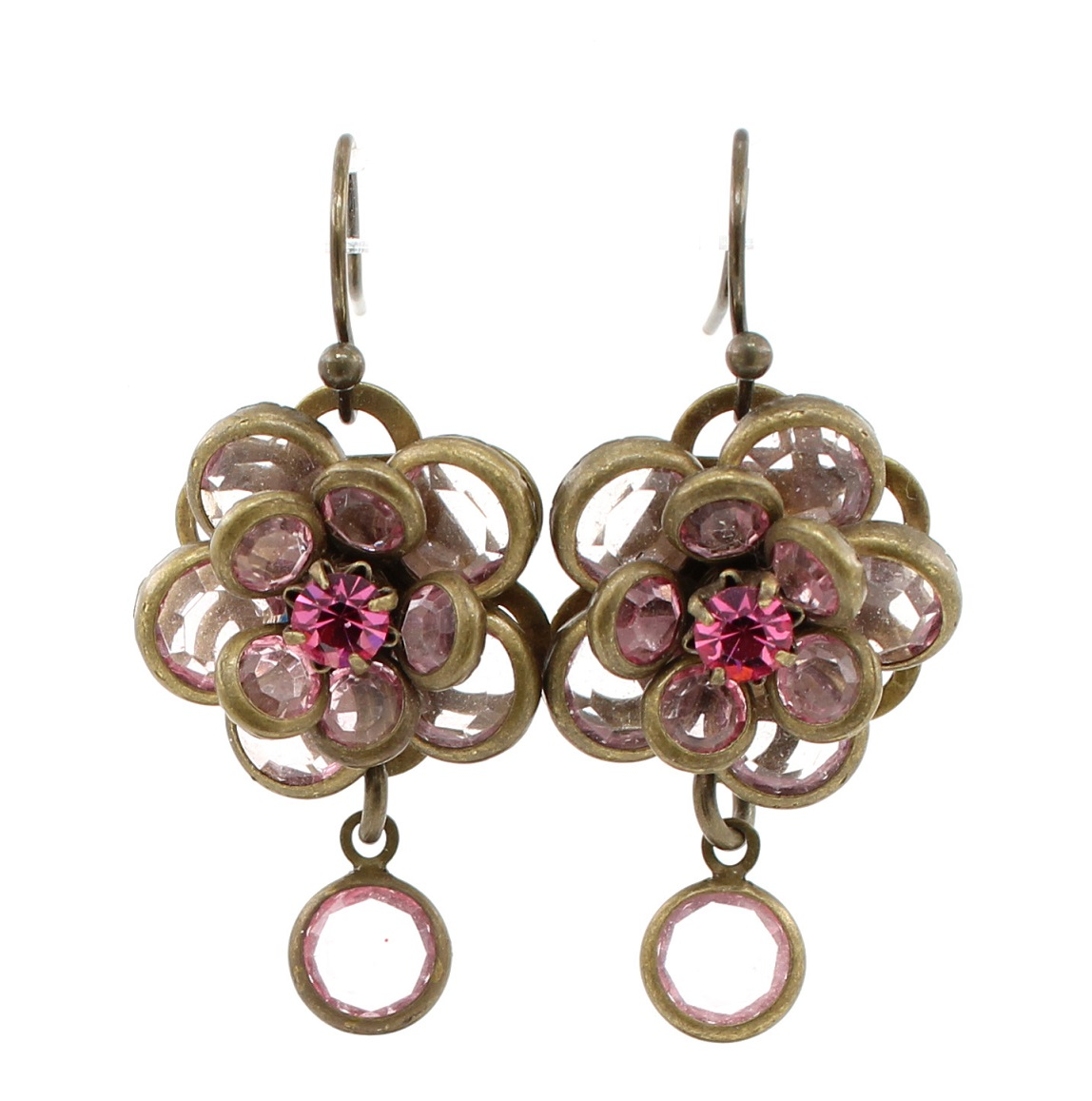 Lisbeth Dahl - Faceted Discs Flower Earrings - Vintage Gold/Pink BNWT