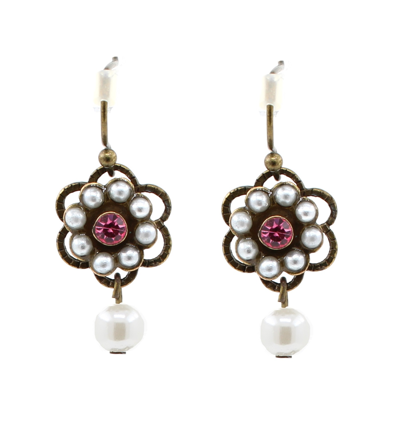 Lisbeth Dahl - Crystal Pearl Flower Earrings - Vintage Gold/Cream & Pink BNWT